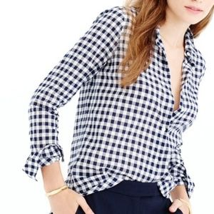 J. Crew Crinkle Gingham Boy Shirt in Classic Navy
